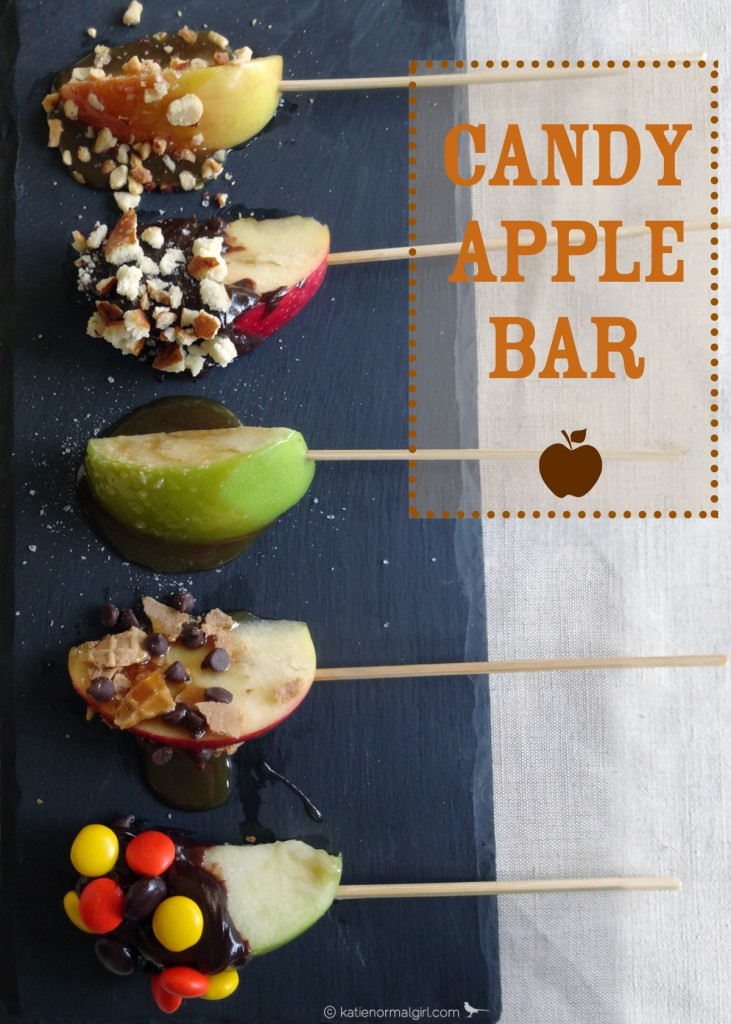 Candy Dipped Apple Bar from katienormalgirl.com  #dessert #autumn #partyplanning #thanksgiving