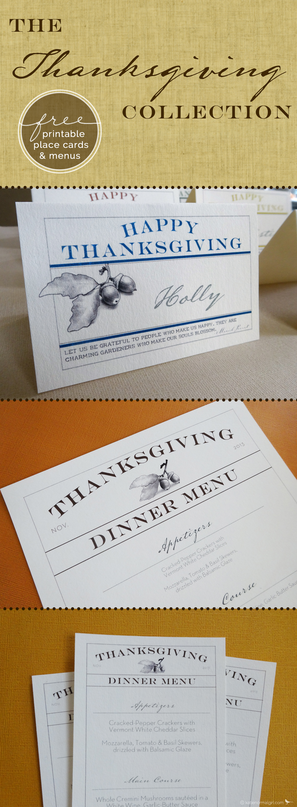 Thanksgiving Menus and Dish Labels/Place Cards - free downloads from katienormalgirl.com #partyplanning #placecards #thanksgiving