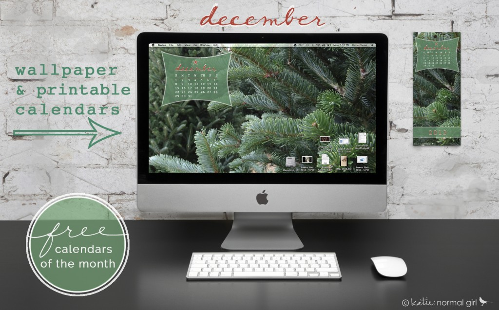 Freebie December calendars from katienormalgirl.com #free #downloads #printables