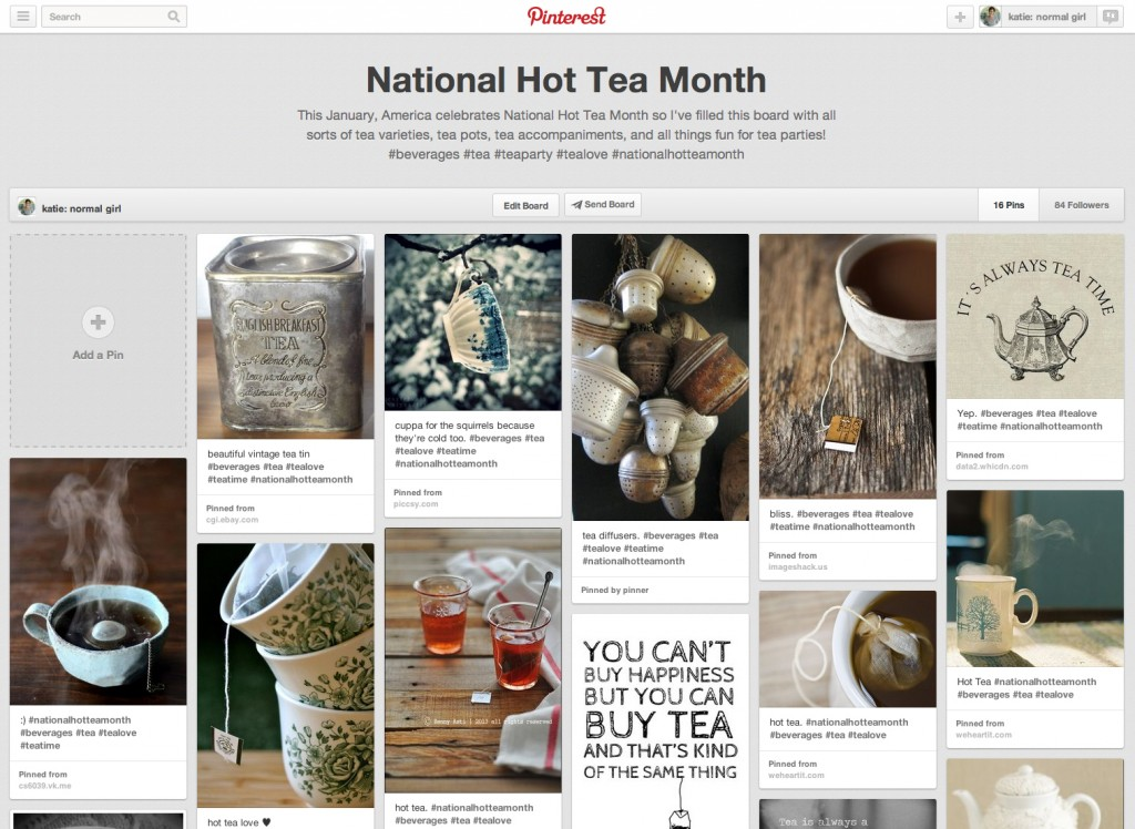 National Hot Tea Month Board on Pinterest from katienormalgirl.com #tealove