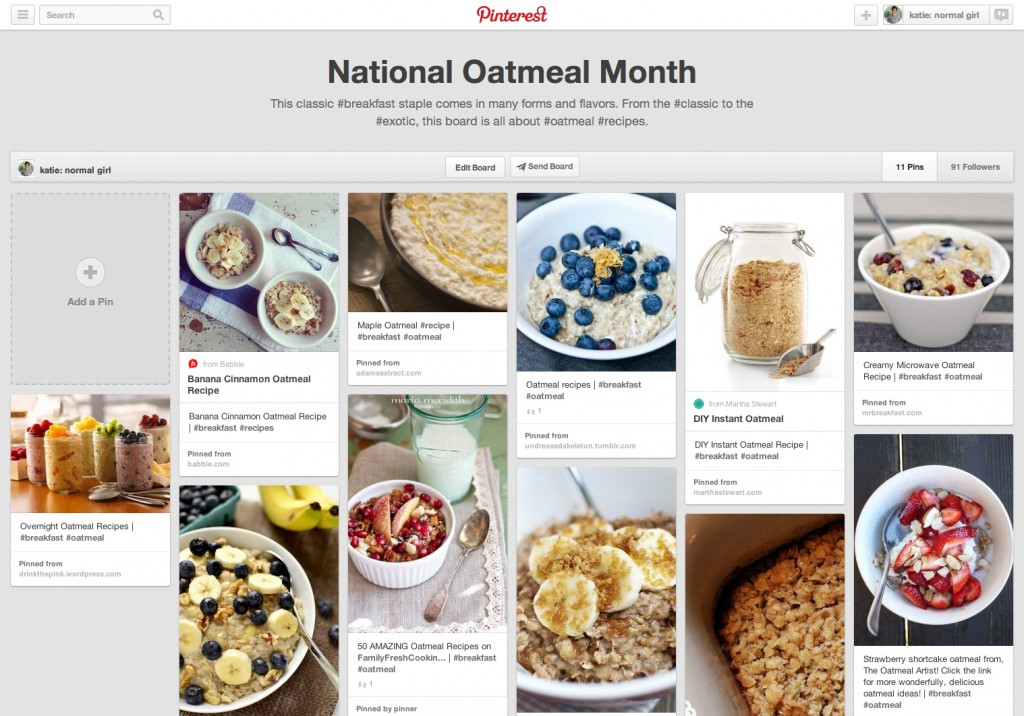National Oatmeal Month Pinterest Board from katienormalgirl.com | #oatmeal #recipes #breakfast
