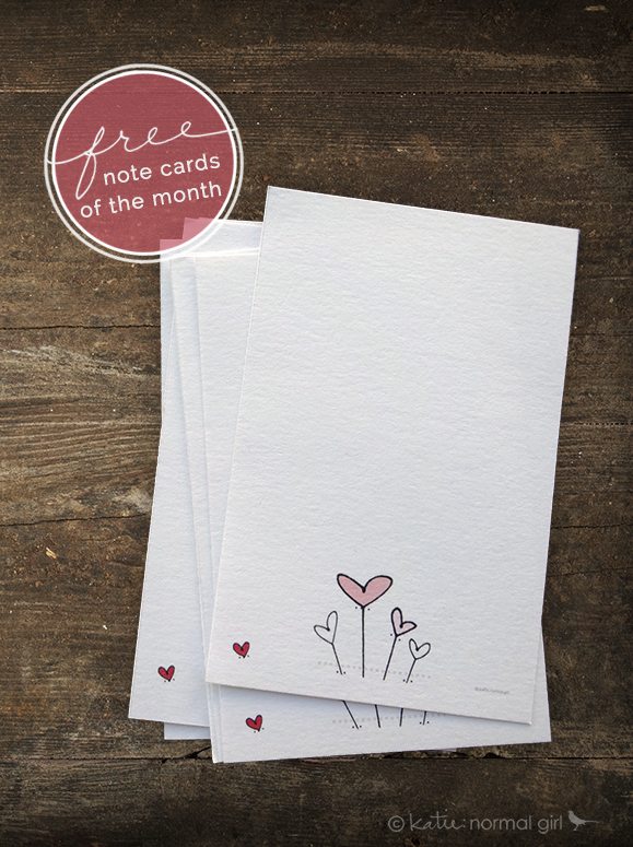 Valentine's Day Heart Notecards from katienormalgirl.com Download Gallery | #ValentinesDay #free #printables