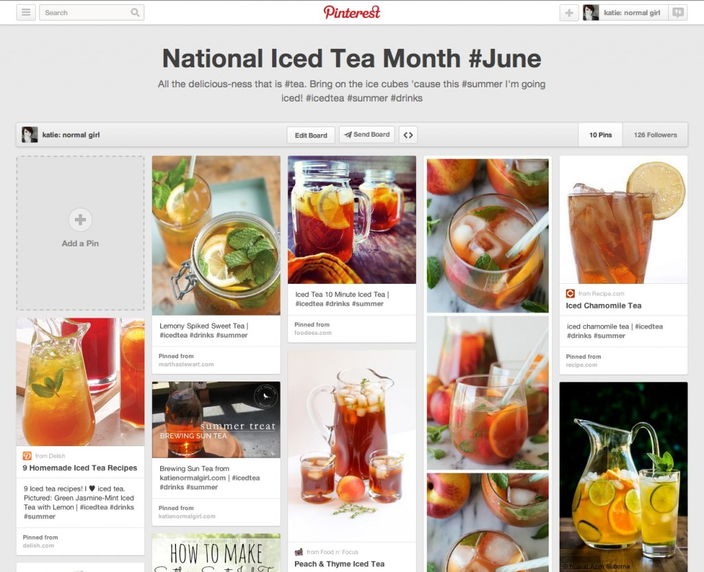 National Iced Tea Month - pinboard from katienormalgirl.com