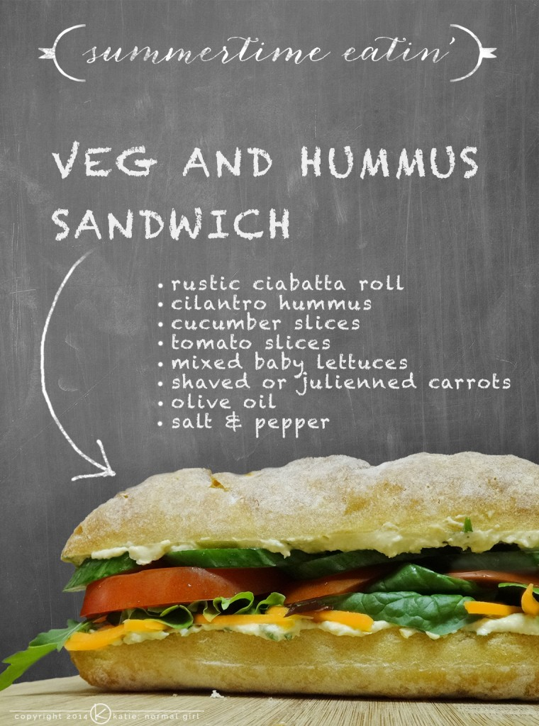 Veg and hummus sandwich from katienormalgirl.com